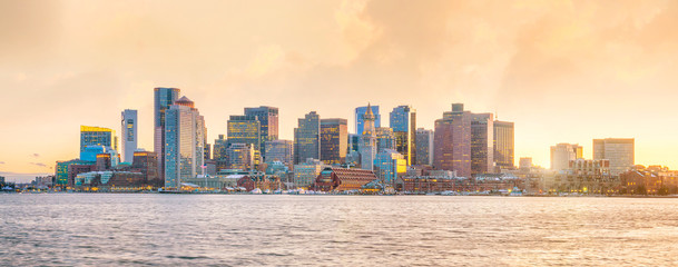 Panorama view of Boston skyline with skyscrapers at twilight in United States Fototapete