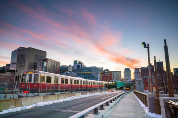Fototapete - Boston downtown skyline at sunset in Massachusetts