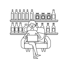 happy woman sitting in the sofa laptop and shelf with bottle glass beverages vector illustration outline design