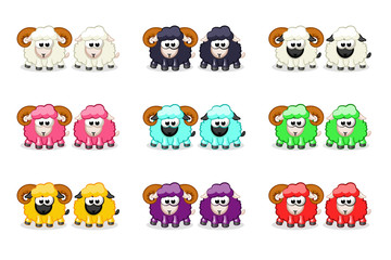 Cartoon cute funny colored sheep and ram