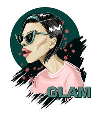 fashion girl in pink t-shirt and trendy sunglasses. vector illustration.