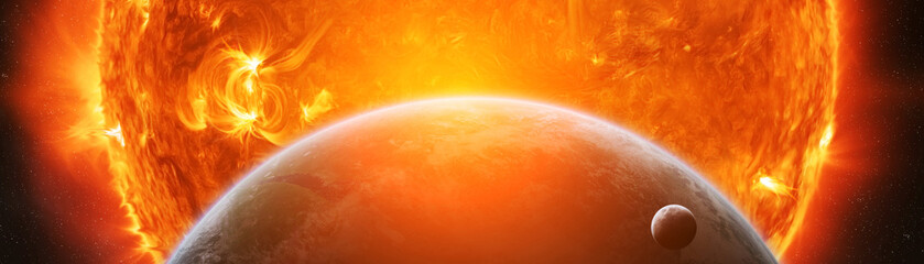 Exploding close to planet Earth 3D rendering elements of this image furnished by NASA