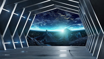 Huge hall spaceship interior 3D rendering elements of this image furnished by NASA Wall mural