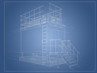 Architectural drawing blueprint of the building from the container with construction lines.