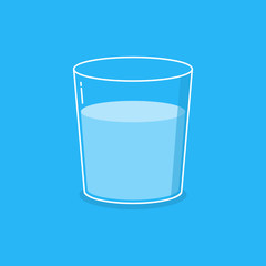 Glass with water in a flat style