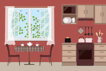 Table with chairs near an open window. Outside the window there are tree branches with green leaves and swallows birds in the sky. Fragment of the kitchen interior in a brown color. Vector image