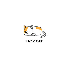 Lazy cat, fat kitten sleeping, logo design, icon vector illustration.
