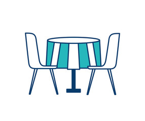 furniture restaurant pair chair and round table vector illustration green and blue design