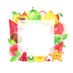 Hand painted square fruit frame. Watercolor pineapple, carambola, kiwi, rambutan, watermelon, kumquat, lime, grapefruit, blood orange, guava, chompu, canistel and green leafs on white background
