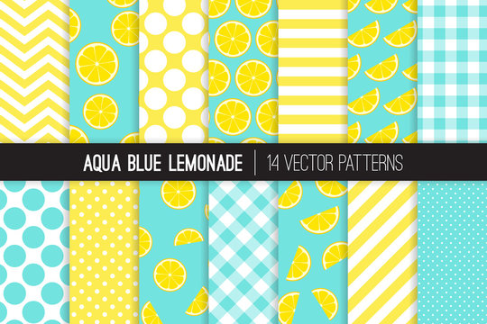Aqua Blue Lemonade Vector Patterns. Yellow Lemon Halves and Slices, Chevron, Stripes, Polka Dots and Gingham. Lemonade Stand Summer Party Decor. Girly Mod Backgrounds. Pattern Tile Swatches Included