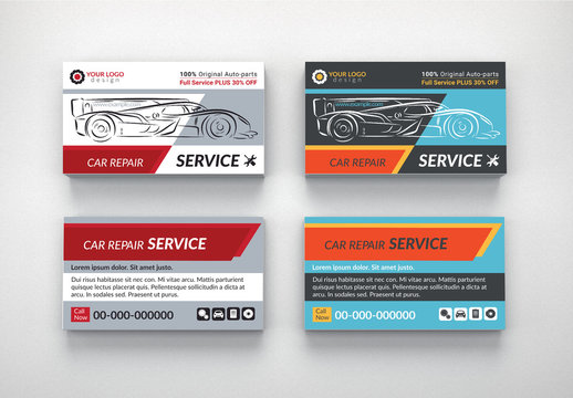 Automotive Services Business Card Layouts 5