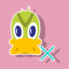 Sticker icon in flat style Duck