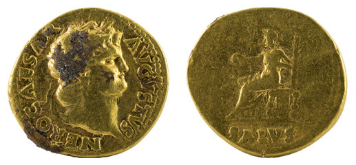 Ancient Roman gold aureus coin of Emperor Nero.
