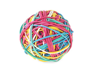 Colorful ball of rubber bands on a white background