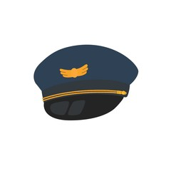 Pilot hat flat design style, isolated on background.
