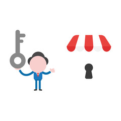 Vector illustration businessman character holding key and showing shop store with keyhole