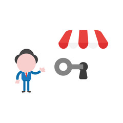 Vector illustration businessman character showing unlock shop store with key