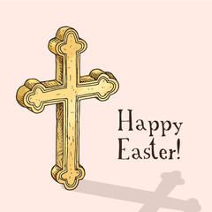 Hand drawn easter gift card with orthodox cross. Greate holiday doodle vintage illustration