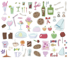 multicolored food, dishes, desserts isolated on white background set