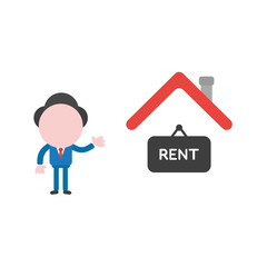 Vector illustration businessman character with house and rent written on hanging sign