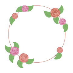 wreath of pink and red roses with green leaves isolated on white background