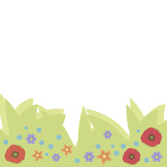 Wildflowers, poppies, Forget-me-nots blue, red and orange on ponies light green foliage on a white background