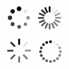 Set Loading icon. Download sign. Collection of simple web download