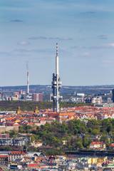 Zizkov television tower (Zizkovska vez) in Prague, Czech Republic.