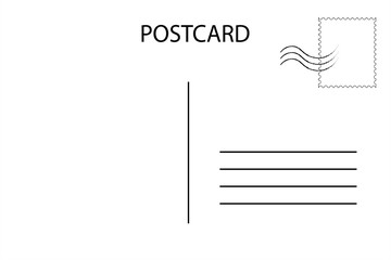 Postcard. Postal card for travel. Blank airmail template