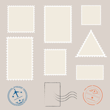 Postage stamp template. Set of blank stamps