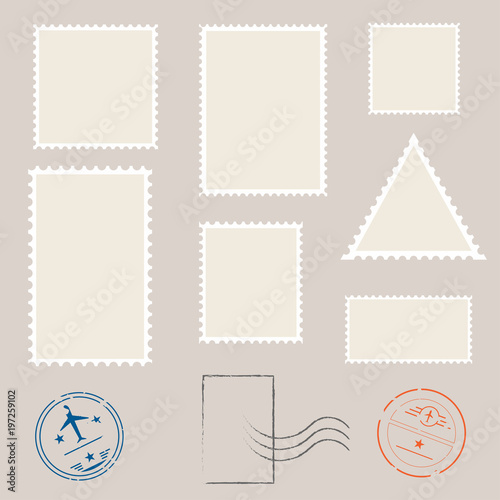 postage stamp template set of blank stamps stock image and royalty
