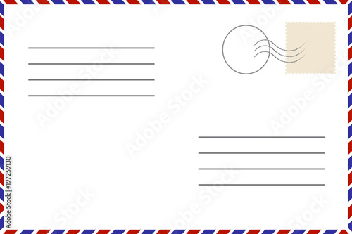 Old Template. Retro Airmail Envelope With Stamp