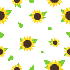 Sunflower seamless pattern. Seamless background with yellow summer flowers. Summer or spring print
