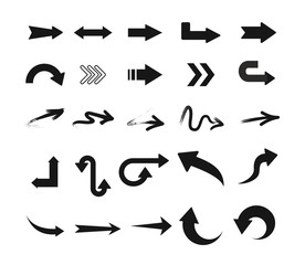 Vector illustration set of black arrow icons in different design isolated on white background.