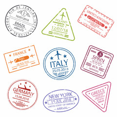 Passport stamp or visa signs for entry  to the different countries Europe.  International Airport  symbols