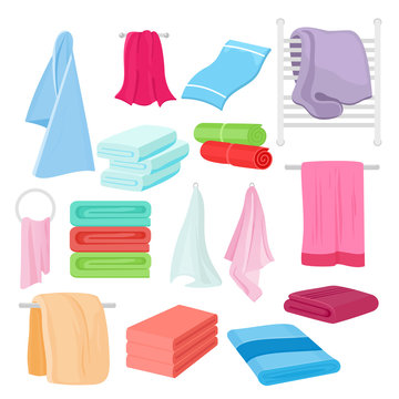 Vector flat illustration set of cartoon towels in different colors and shapes. Cloth towel for bath.