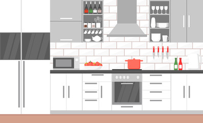 Vector illustration of modern kitchen interior with stove, cupboard, dishes and fridge. kitchen appliances furniture, banner cooking concept in flat style.