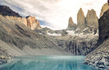 Sunset over the Torres in Torres del Paine national park, Patagonia, Chile, South America