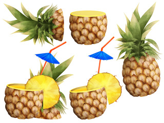 Drawn pineapple beach cocktail set clip art white isolated