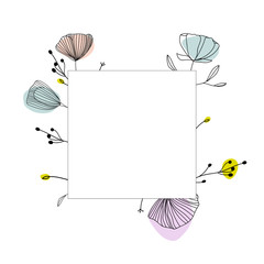 Floral frame, vector template
