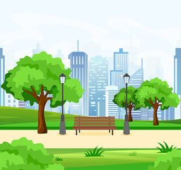 Vector illustration of beautiful public city park with trees and bench, lights and modern city view on background in flat style.