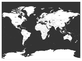 Political map of world. White lands and dark grey seas. Vector illustration.