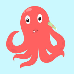 Vector octopus icon with pencil. Student concept isolated on background