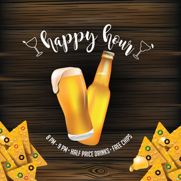 Happy hour wooden background design with beer and tortilla chips. EPS10 vector illustration.