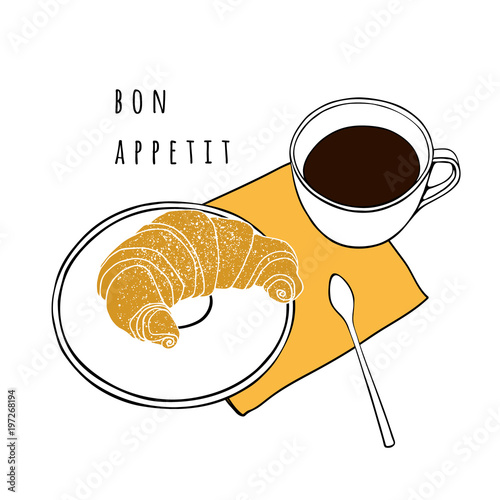 """Croissant And A Cup Of Coffee. Hand Drawn Vector"