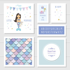 Mermaid birthday card templates set. Included fish skin seamless pattern and narrow hand drawn font. Vector