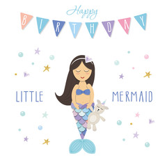 Birthday card template. Little mermaid with unicorn toy. Cute cartoon characters. Vector
