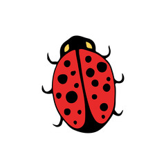 Vector doodle badge. Ladybird isolated icon. Cartoon kids print