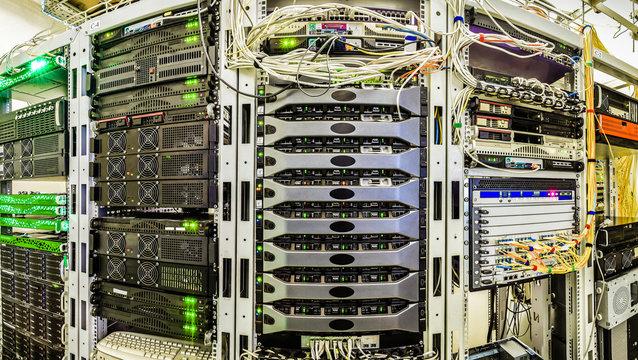 Server room data center. Panorama of racks with servers