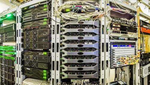 Server room data center  Panorama of racks with servers